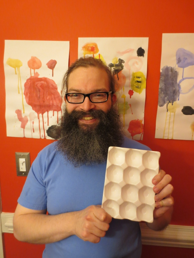 This egg tray has wells deep enough to make a large amount of paint for a consistent float.