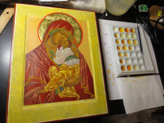 Icon in progress Theotokos and Emmanuel
