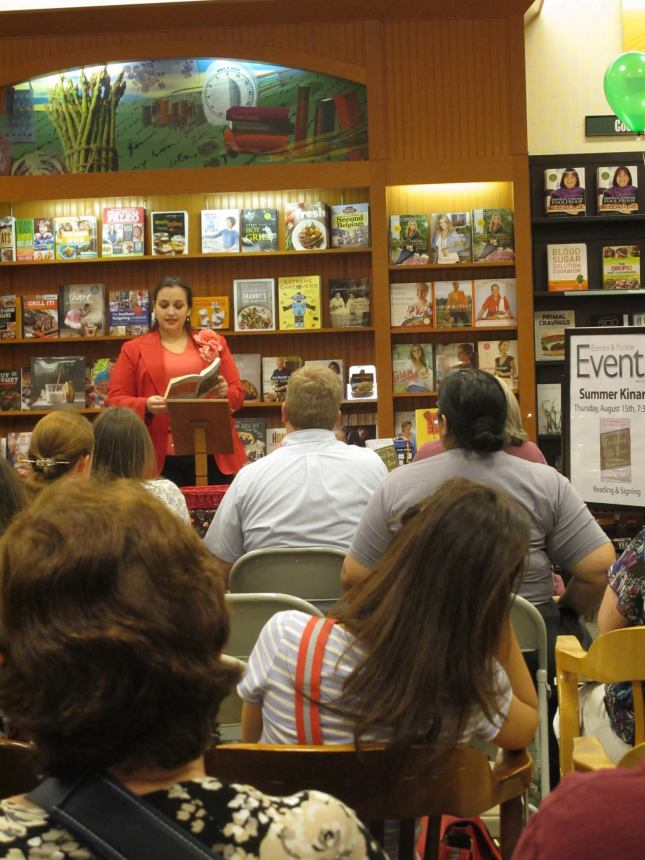 My (actually famous and amazing photographer) friend Sonia Katchian took this photo of me reading at my first Barnes & Noble bookstore event. It was fun to talk about the book, even though everyone there actually read on Nook or Kindle!