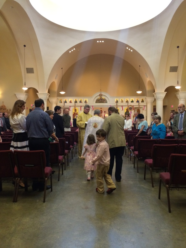 My view as the first of my twins was churched. We returned to church on the Sunday of Thomas (Second Sunday of Easter).