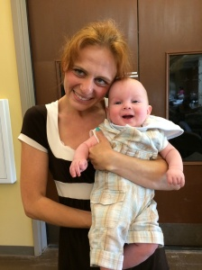 One of our babies with his Auntie Elena.