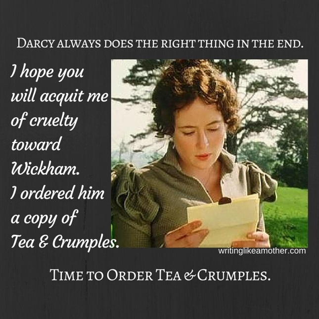 Pin it and don't forget it! Lizzie Bennet reminds us to order a copy of Tea & Crumples.